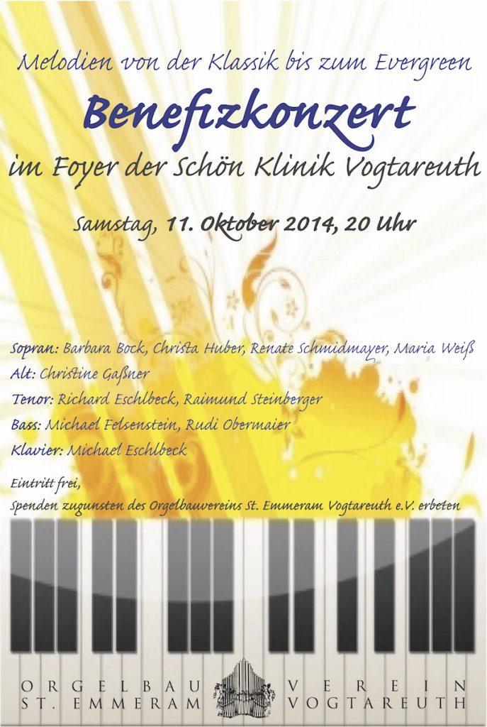 Plakat zum Benefizkonzert am 11. Oktober 2014 im Foyer der Schön Klinik Vogtareuth